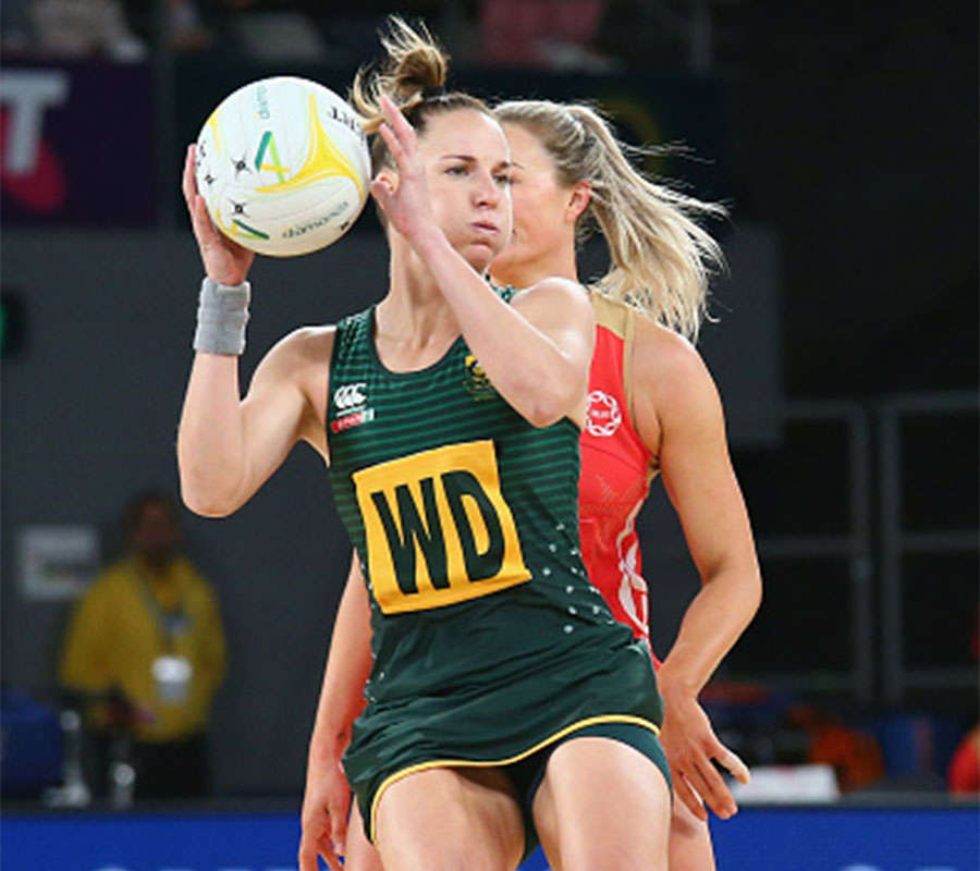 Shadine Van Der Merwe playing for the South African National Team against Chelsea Pitman