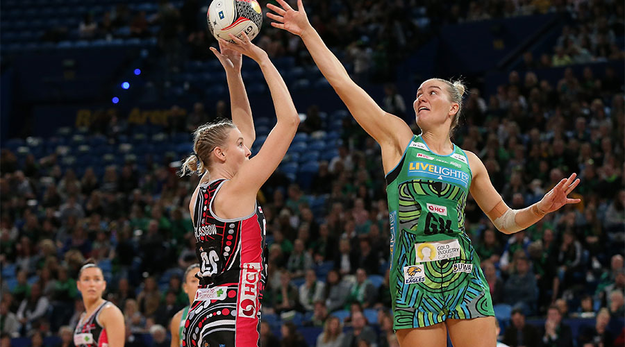 Fever defender Courtney Bruce defending a goal from Sasha Glasgow from Thunderbirds