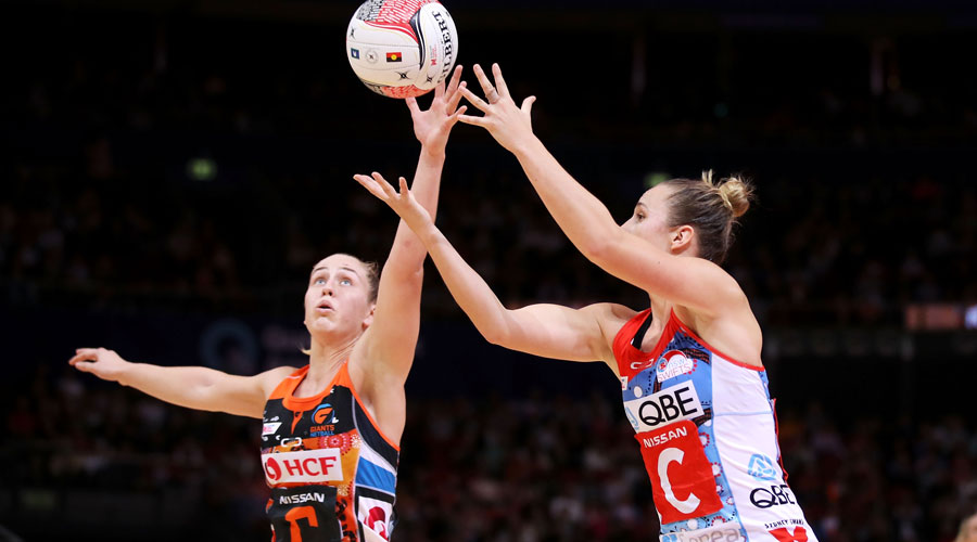 GIANTS' Jamie Lee Price intercepts a pass to Swifts Centre Paige Hadley