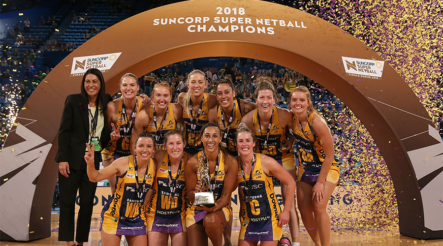 Lightning celebrating their second Super Netball Grand Final win