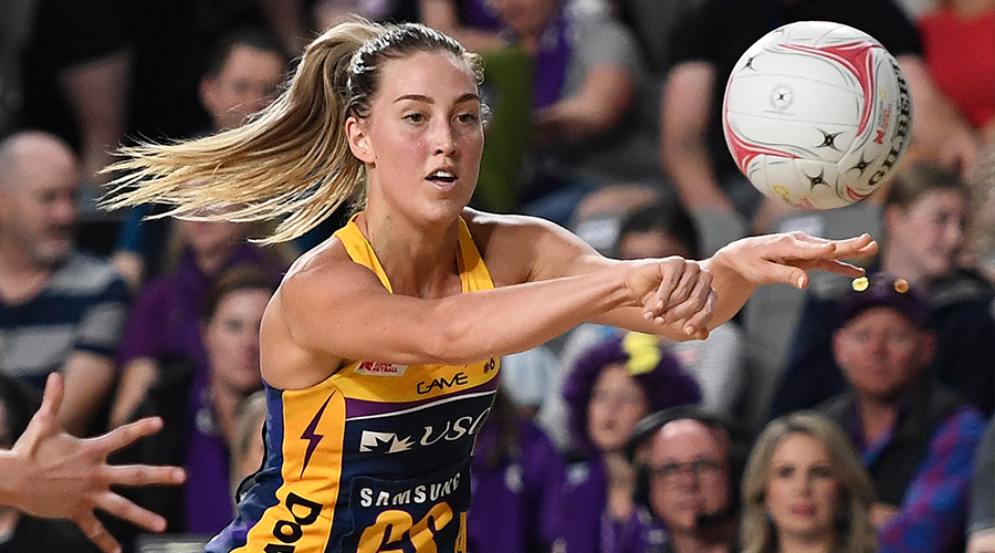 Cara Koenen of the Lightning passes the ball during the round 10 Super Netball match between the Firebirds and the Lightning at Brisbane Arena on July 27, 2019 in Brisbane, Australia.