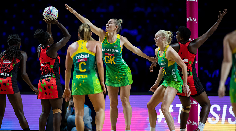 Courtney Bruce of the Australian Diamonds and West Coast Fever defends a shot in Australia's Netball World Cup match against Malawi at Liverpool's M&S Bank Arena.