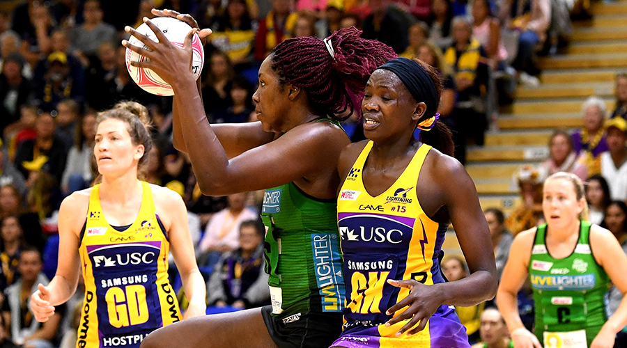 Jhaniele Fowler of the West Coast Fever takes possession of the ball against the Sunshine Coast Lightining in their Round 9 clash at USC Stadium.