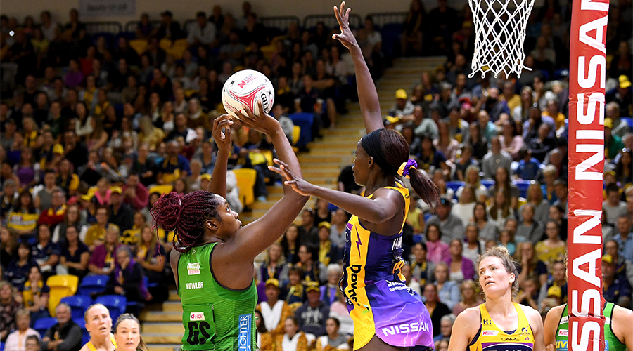 Jhaniele Fowler of the Fever shoots during the round 9 Super Netball match between the Lightning and the Fever at University of Sunshine Coast on June 22, 2019 in Sunshine Coast, Australia.