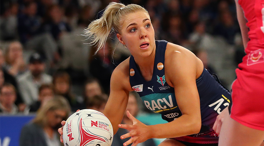 Kate Moloney of the Vixens passes during the round 10 Super Netball match between the Vixens and the Thunderbirds at Melbourne Arena on July 28, 2019 in Melbourne, Australia.