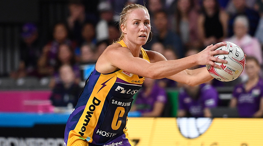 Laura Langman of the Lightning looks to pass the ball during the round 10 Super Netball match between the Firebirds and the Lightning at Brisbane Arena on July 27, 2019 in Brisbane, Australia.