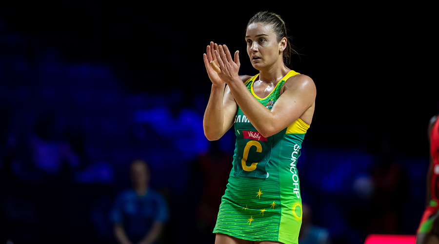 Australian Diamonds and Melbourne Vixens vice-captain applauds her teammates in Australia's Netball World Cup match against Malawi at Liverpool's M&S Bank Arena.