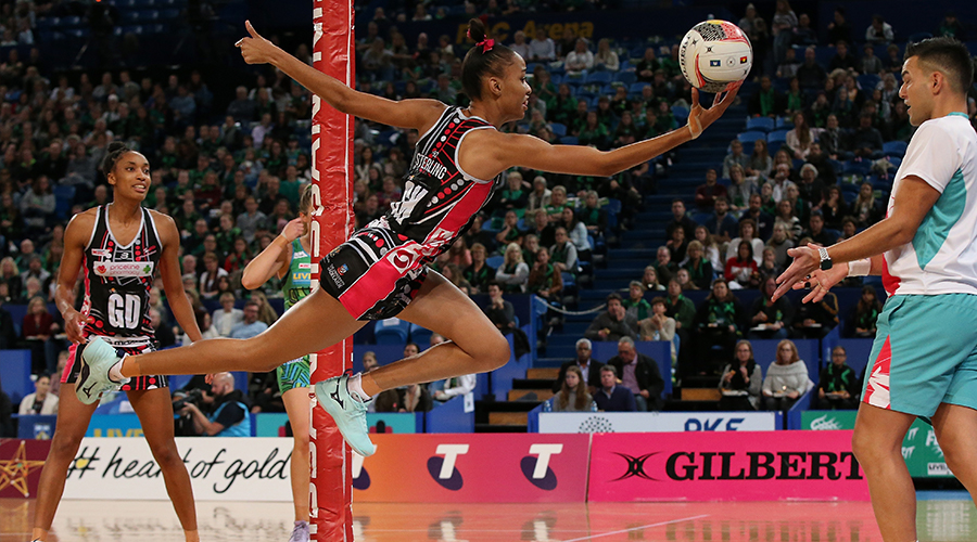 Shamera Sterling of the Thunderbirds attempts to keep the ball in play during the round 8 Super Netball match between the Fever and the Thunderbirds at RAC Arena on June 15, 2019 in Perth, Australia.