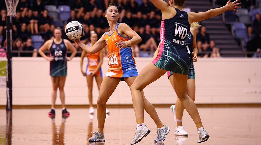 aylah Davies of the Canberra Giants passes during the Australian Netball League Finals at State Netball Hockey Centre on June 29, 2019 in Melbourne, Australia.