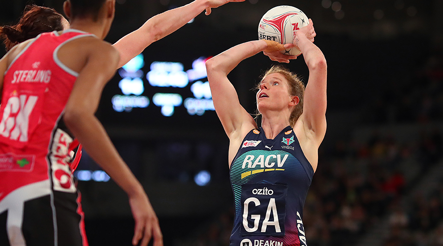 Tegan Philip of the Vixens shoots during the round 10 Super Netball match between the Vixens and the Thunderbirds at Melbourne Arena on July 28, 2019 in Melbourne, Australia.