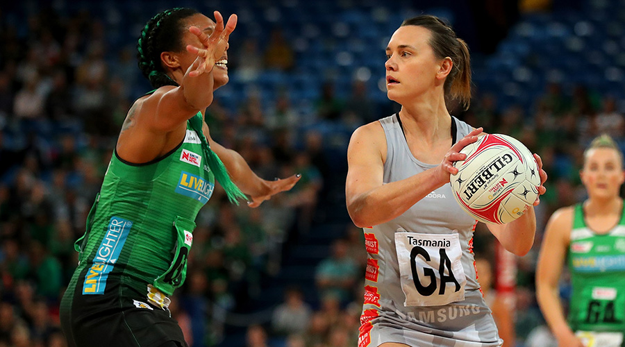 Magpies Netball goal attack Nat Medhurst takes on the West Coast Fever in Round 12