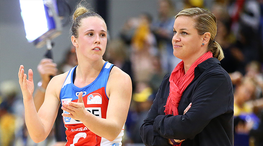 Paige Hadley and Swifts coach Briony Akle talk after the loss after the round 11 Super Netball match between the Lightning and Swifts at University of Sunshine Coast on August 03, 2019 in Sunshine Coast, Australia.