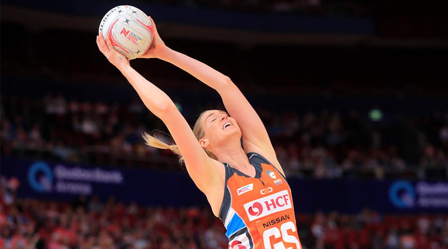 Caitlin Bassett of the Giants catches the ball during the round 14 Super Netball match between the Greater Western Sydney Giants and West Coast Fever at Qudos Bank Arena on August 24, 2019 in Sydney, Australia.