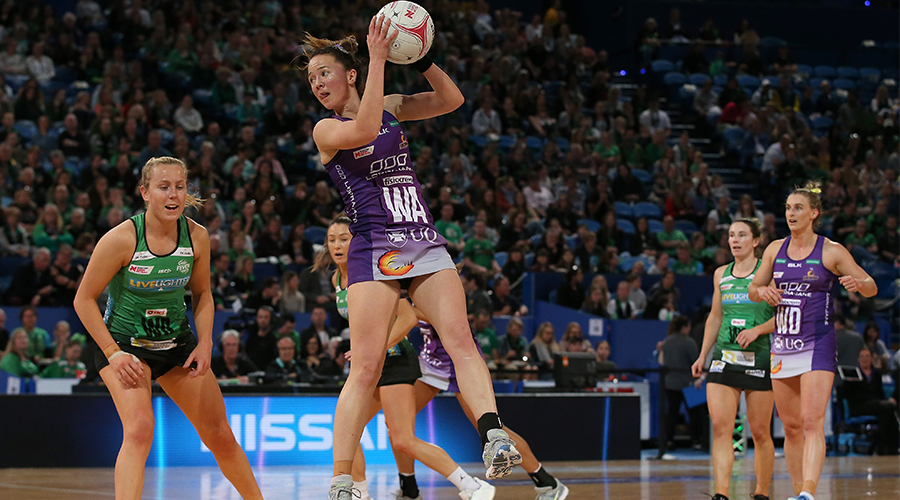 Caitlyn Nevins of the Firebirds in action during the round 13 Super Netball match between the West Coast Fever and the Queensland Firebirds at RAC Arena on August 18, 2019 in Perth, Australia.