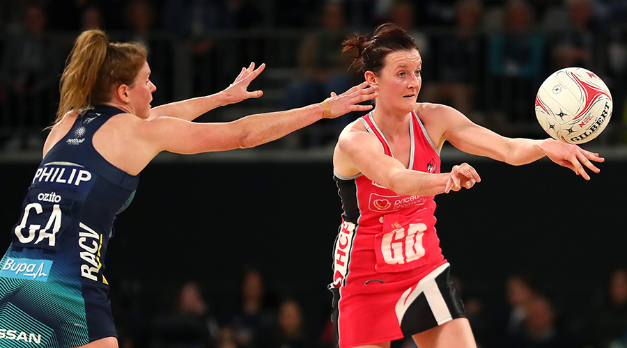 Kate Shimmin of the Thunderbirds passes during the round 10 Super Netball match between the Vixens and the Thunderbirds at Melbourne Arena on July 28, 2019 in Melbourne, Australia.