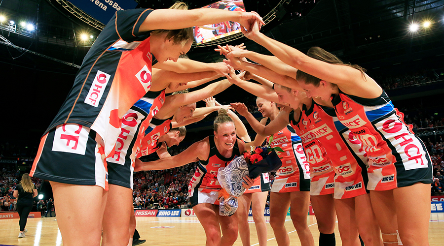Retiring Kim Green of the Giants is given a guard of honour by her team mates after her last home game during the round 14 Super Netball match between the Greater Western Sydney Giants and West Coast Fever at Qudos Bank Arena on August 24, 2019 in Sydney, Australia.