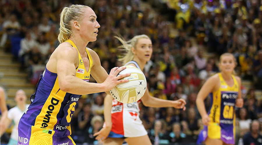 Laura Langman of the Lightning passes the ball during the Super Netball Major Semi Final match between the Lightning and the Swifts at USC Stadium on August 31, 2019 in Sunshine Coast, Australia.