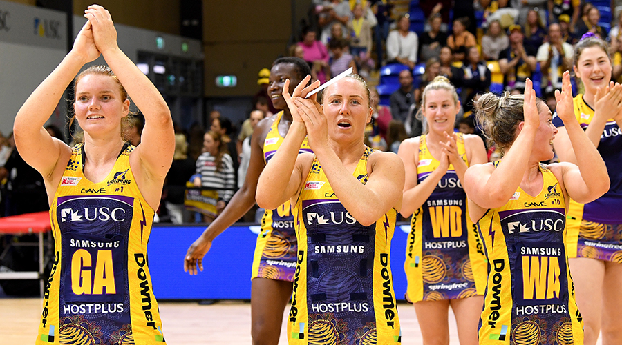 The Lightning players celebrate victory after the Round 8 Super Netball match between the Sunshine Coast Lightning and the Collingwood Magpies at the University of Sunshine Coast on June 15, 2019 in Sunshine Coast, Australia.