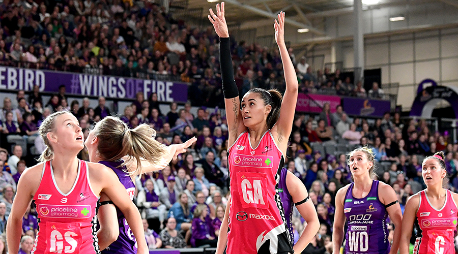 Maria Folau of the Thunderbirds shoots during the round 12 Super Netball match between the Queensland Firebirds and Adelaide Thunderbirds at Brisbane Arena on August 11, 2019 in Brisbane, Australia.