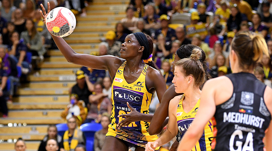 Phumza Maweni of the Lightning catches the ball during the Round 8 Super Netball match between the Sunshine Coast Lightning and the Collingwood Magpies at the University of Sunshine Coast on June 15, 2019 in Sunshine Coast, Australia.