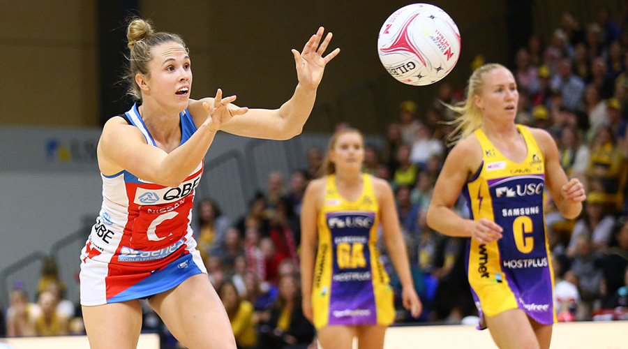 Paige Hadley receives the ball in the NSW Swifts' loss against Sunshine Coast Lightning