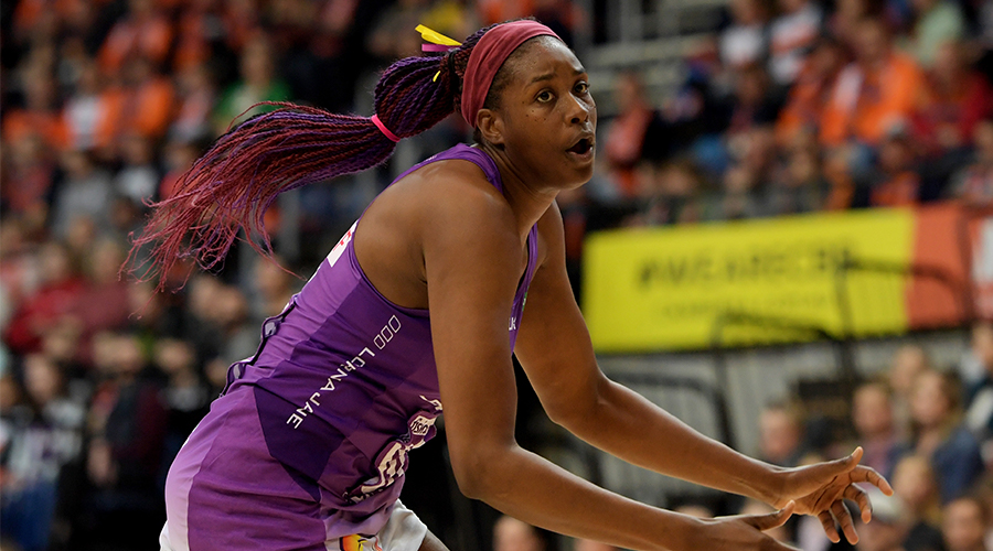 Romelda Aiken of the Firebirds during the round 11 Super Netball match between the Giants and Firebirds at AIS on August 04, 2019 in Canberra, Australia.