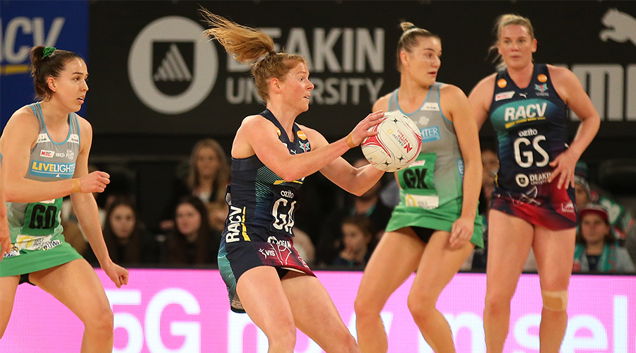 Tegan Philip of the Melbourne Vixens landing with the ball