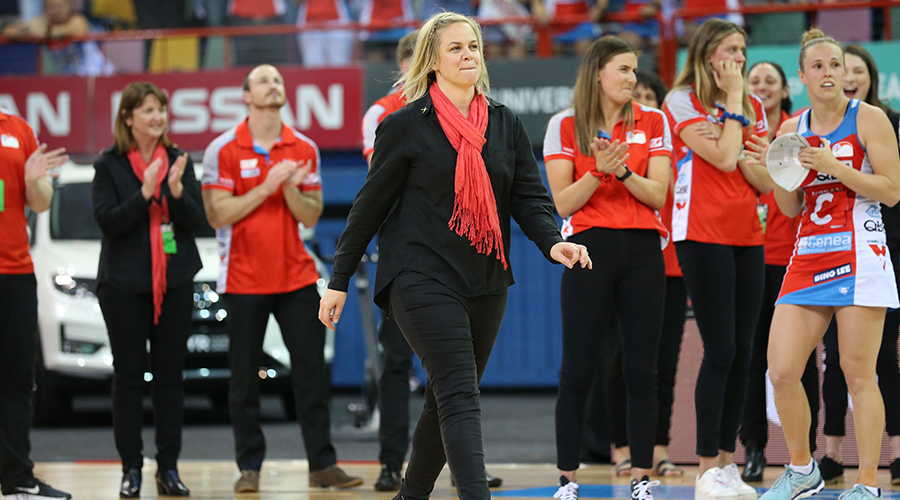 NSW Swifts head coach Briony Akle is all smiles after her team wins the the 2019 Suncorp Super Netball Grand Final agains the Sunshine Coast Lightning at the Brisbane Entertainment Centre.