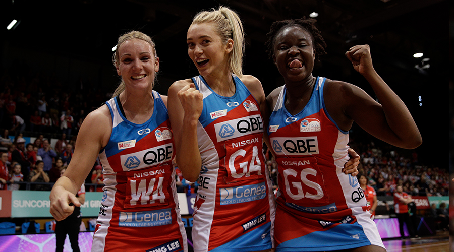 Natalie Haythornthwaite of the Swifts, Helen Housby of the Swifts and Samantha Wallace of the Swifts celebrate after the Super Netball Preliminary Final between the NSW Swifts and the Melbourne Vixens at Quay Centre on September 08, 2019 in Sydney, Australia.
