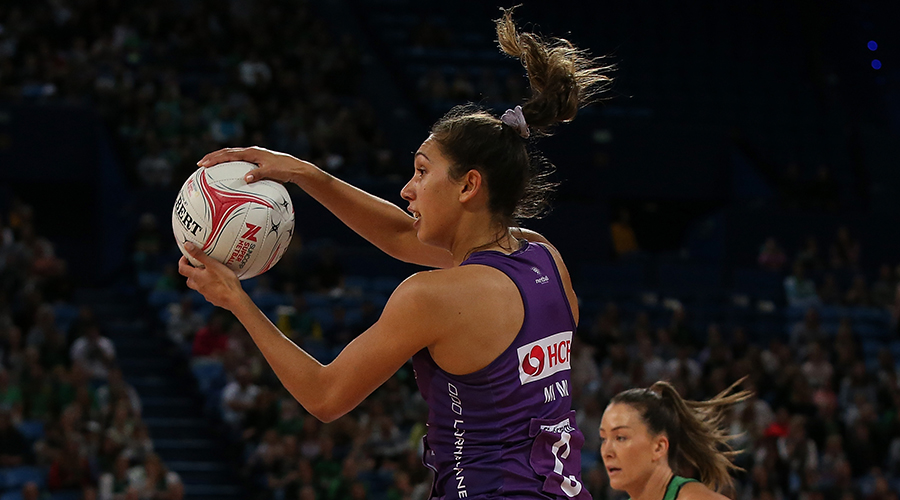 Jemma Mi Mi of the Firebirds in action during the round 13 Super Netball match between the West Coast Fever and the Queensland Firebirds at RAC Arena on August 18, 2019 in Perth, Australia.