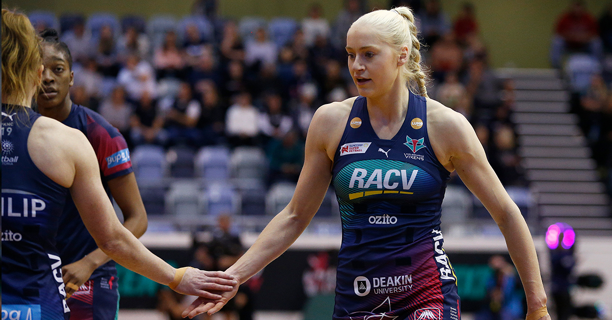 Jo Weston of the Vixens warms up ahead of the Super Netball Minor Semi Final match between the Melbourne Vixens and the Collingwood Magpies at the State Netball and Hockey Centre on September 01, 2019 in Melbourne, Australia.