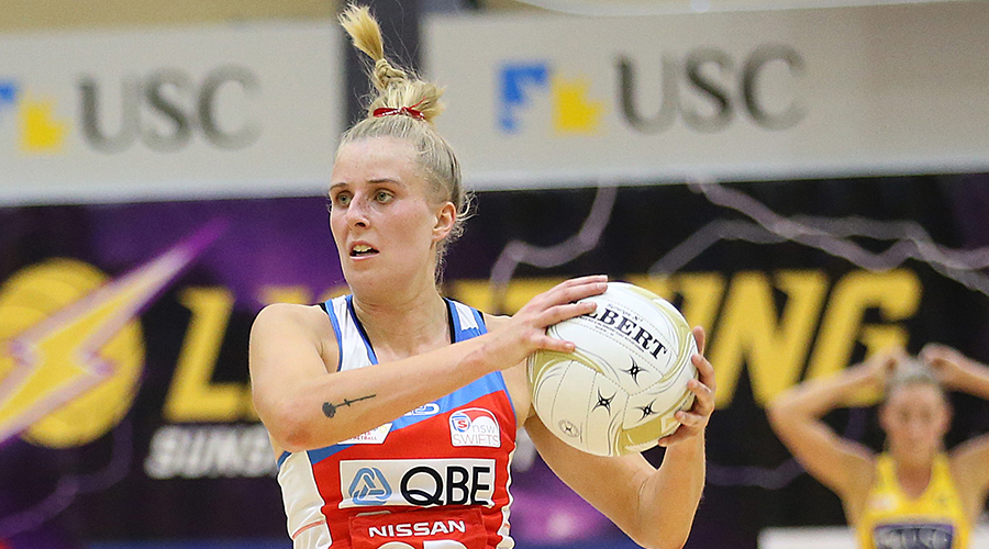 Maddy Turner of the Swifts catches the ball during the Super Netball Major Semi Final match between the Lightning and the Swifts at USC Stadium on August 31, 2019 in Sunshine Coast, Australia.