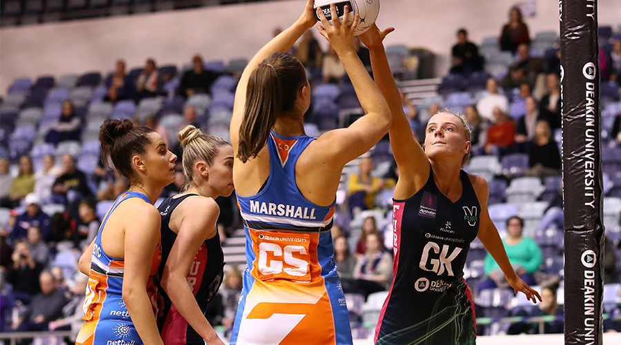 Rudi Ellis of the Victorian Fury defends as Georgia Marshall of the Canberra Giants shoots during the Australian Netball League Finals at State Netball Hockey Centre on June 29, 2019 in Melbourne, Australia.