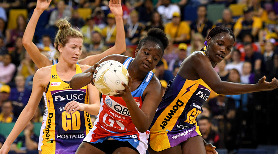 Sam Wallace of the Swifts wins the challenge for the ball during the Super Netball Grand Final match between the Sunshine Coast Lightning and the Sydney Swifts at the Brisbane Entertainment Centre on September 15, 2019 in Brisbane, Australia.