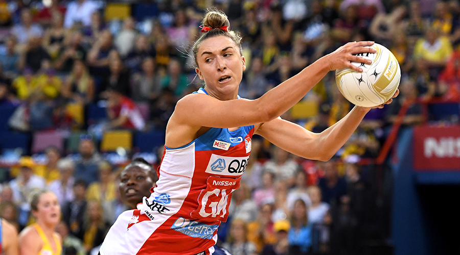 Sarah Klau of the Swifts takes an intercept during the Super Netball Grand Final match between the Sunshine Coast Lightning and the Sydney Swifts at the Brisbane Entertainment Centre on September 15, 2019 in Brisbane, Australia.