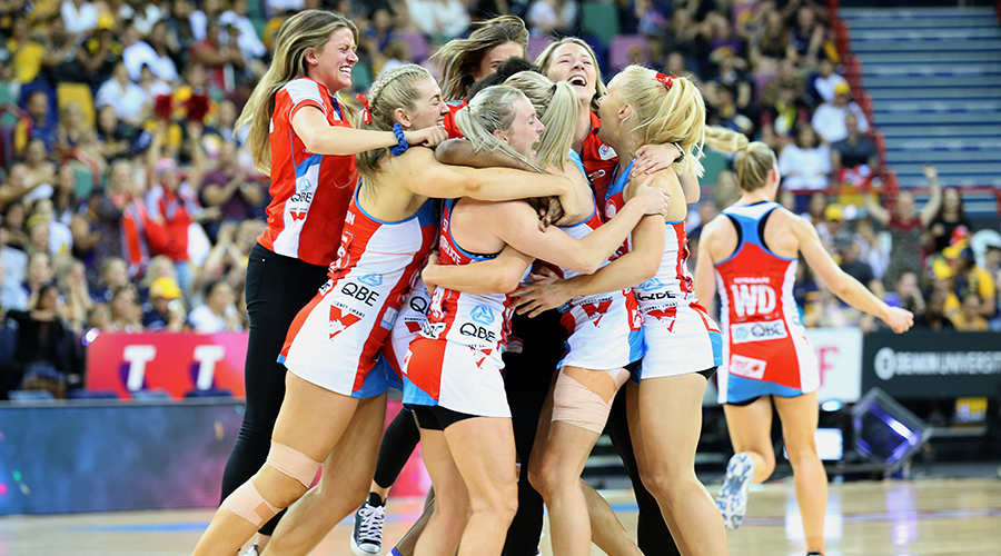 The Swifts celebrate the win during the Super Netball Grand Final match between the Sunshine Coast Lightning and the Sydney Swifts at Brisbane Entertainment Centre on September 15, 2019 in Brisbane, Australia.