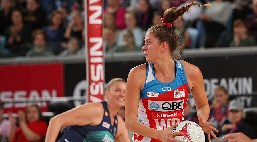 Kate Eddy of the Swifts in action during the round 5 Super Netball match between the Vixens and the Swifts at Margaret Court Arena on May 26, 2019 in Melbourne, Australia.