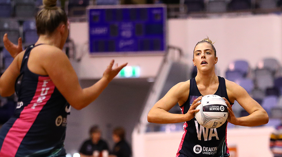 Lara Dunkley of the Victorian Fury passes during the Australian Netball League Finals at State Netball Hockey Centre on June 29, 2019 in Melbourne, Australia.