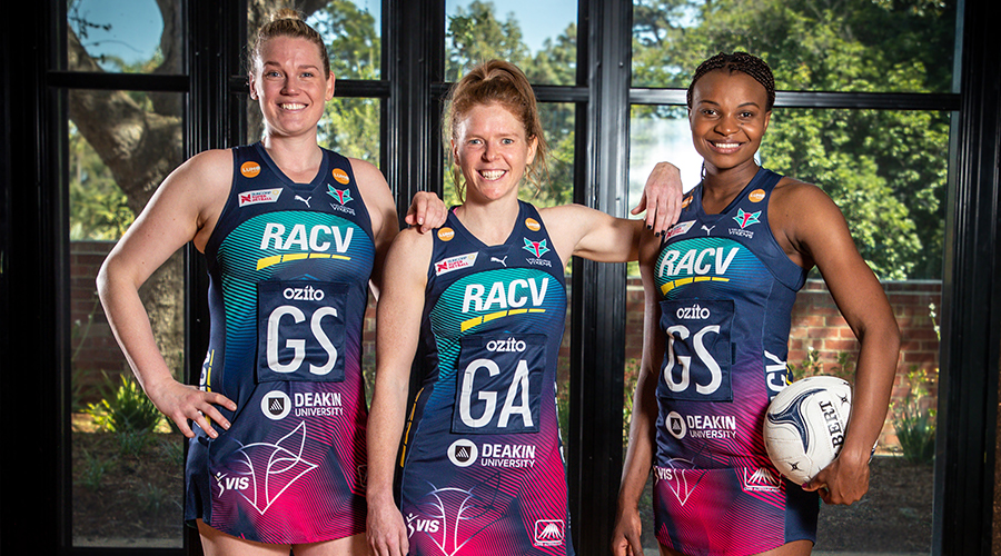 Melbourne Vixens shooters Tegan Philip, Caitlin Thwaites and Mwai Kumwenda (from left to right) pose after the team announced their re-signing for the 2020 season.