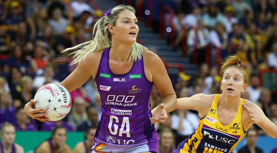 Gretel Tippett of the Firebirds in action during the round three Super Netball match between the Sunshine Coast Lightning and the Queensland Firebirds at Brisbane Arena on May 12, 2019 in Brisbane, Australia.