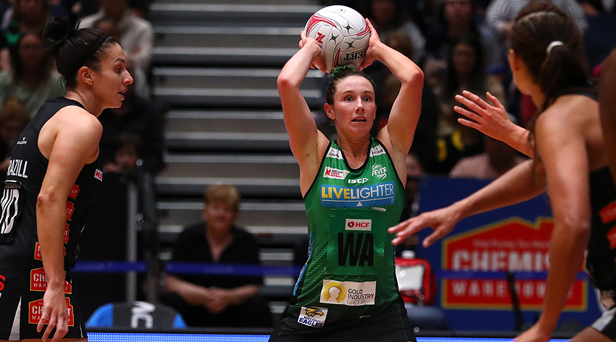 Ingrid Colyer of the Fever passes during the round 5 Super Netball match between the Collingwood Magpies and the West Coast Fever at Bendigo Stadium on May 25, 2019 in Bendigo, Australia.