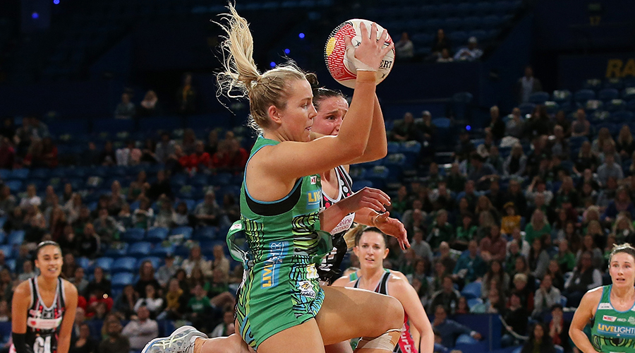 Jessica Anstiss of the Fever catches the ball during the round 8 Super Netball match between the Fever and the Thunderbirds at RAC Arena on June 15, 2019 in Perth, Australia.