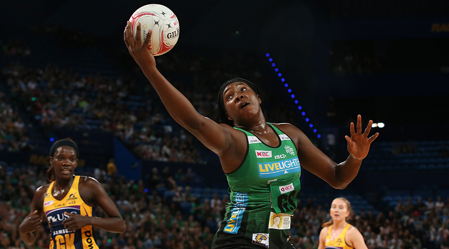 Jhaniele Fowler of the Fever catches a pass during the round two Super Netball match between the Perth Fever and the Sunshine Coast Lightning at RAC Arena on May 05, 2019 in Perth, Australia.