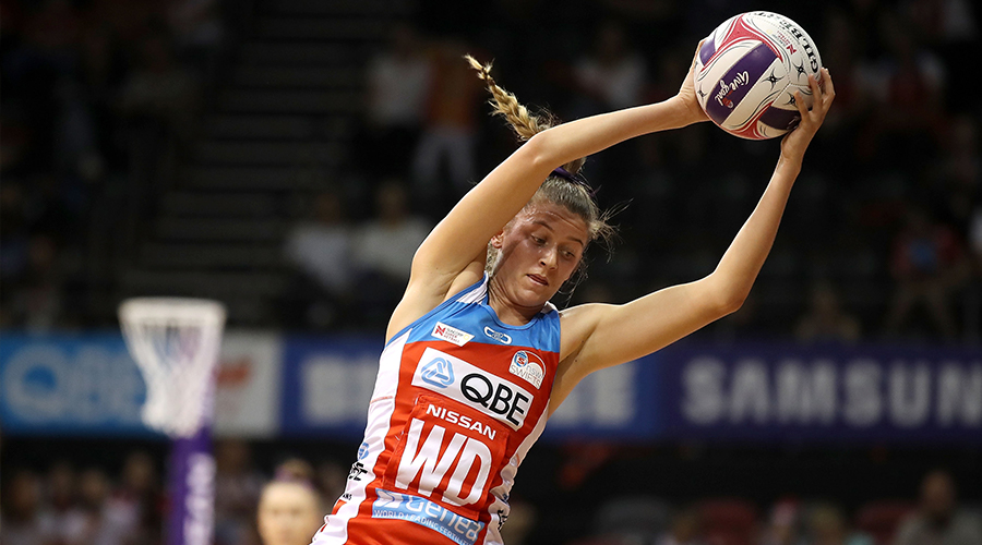 MAY 18: Kate Eddy of the Swifts wins the ball at Quay Centre on May 18, 2019 in Sydney, Australia.