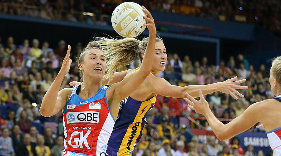 Sarah Klau of the Swifts steals from Cara Koenen of the Lightning during the Super Netball Grand Final match between the Sunshine Coast Lightning and the Sydney Swifts at Brisbane Entertainment Centre on September 15, 2019 in Brisbane, Australia.