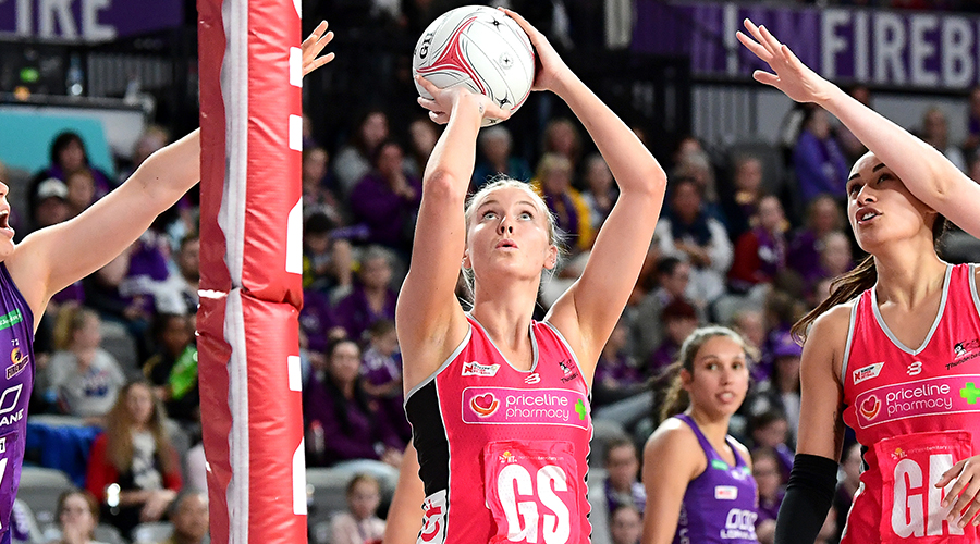 Sasha Glasgow of the Thunderbirds shoots during the round 12 Super Netball match between the Queensland Firebirds and Adelaide Thunderbirds at Brisbane Arena on August 11, 2019 in Brisbane, Australia.