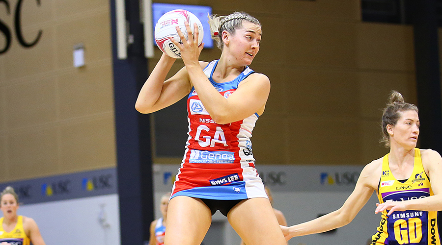 Sophie Garbin of the Swifts catches the ball during the round 11 Super Netball match between the Lightning and Swifts at University of Sunshine Coast on August 03, 2019 in Sunshine Coast, Australia.