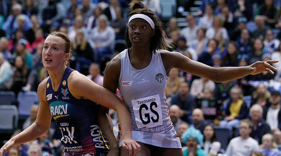 Shimona Nelson of the Magpies and Emily Mannix of the Vixens compete during the Super Netball Minor Semi Final match between the Melbourne Vixens and the Collingwood Magpies at the State Netball and Hockey Centre on September 01, 2019 in Melbourne, Australia.