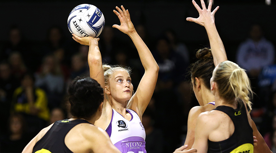 Charlee Hodges of the Stars shoots during the round 12 ANZ Premiership match between the Central Pulse and the Northern Stars at TSB Bank Arena on May 13, 2019 in Wellington, New Zealand.