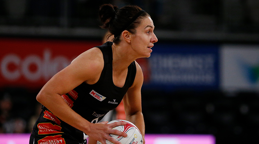 Ashleigh Brazill of the Magpies looks inside during the Round 10 Super Netball match between the Collingwood Magpies and the GWS Giants at the Melbourne Arena in Melbourne, Sunday, July 28, 2019.